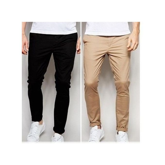 2n1 Men Pencil Chinos Trousers- Black/Brown