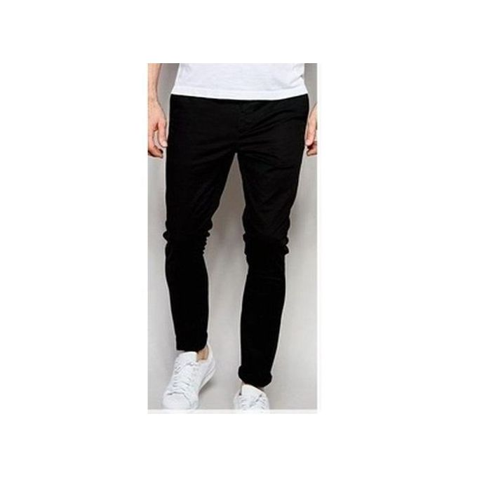Men Pencil Chinos Trousers black- Black