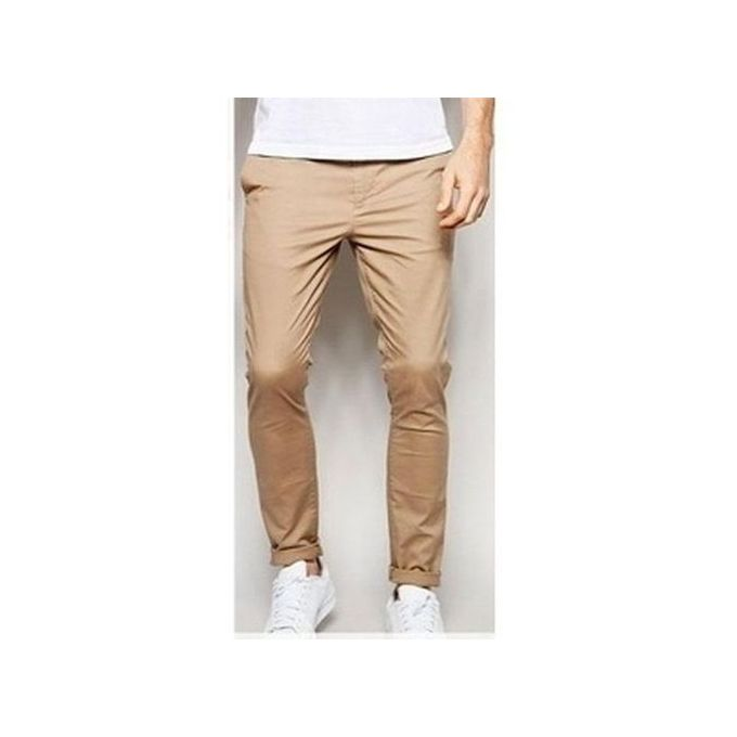 Men Pencil Chinos Trousers brown- Brown