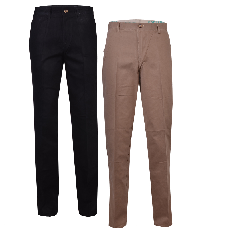 2n1 Men Straight Cut chinos Trousers- Black/Brown